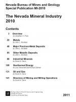 Nevada bureau of mines and geology special pubication MI-2010. The Nevada mineral industry 2010