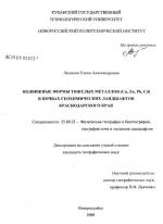 Подвижные формы тяжелых металлов (Cu, Zn, Pb, Cd) в почвах геохимических ландшафтов Краснодарского края