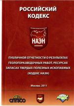 Российский Кодекс публичной отчетности о результатах геологоразведочных работ, ресурсах и запасах твердых полезных ископаемых (Кодекс НАЭН)