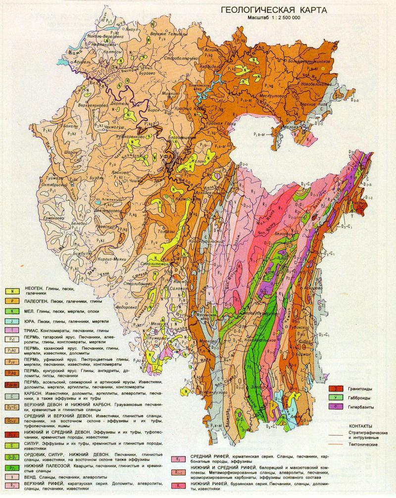 Геологическая карта республики Башкирия | Геологический ...: http://www.geokniga.org/maps/2386