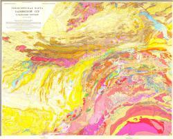 Геологическая карта Таджикской ССР и прилегающих территорий