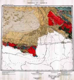 K-43-A (Фрунзе). Геологическая карта Казахской ССР