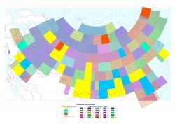 Картограмма геологической изученности территории России масштаба 1:1000000