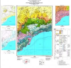 L-36-XXIX, XXXV (Симферополь, Ялта). Геологическая карта и карта полезных ископаемых дочетвертичных отложений. Серия Крымская
