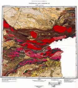 L-44-В (Талды-Курган). Геологическая карта Казахской ССР