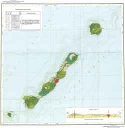 L-56-II,III,VII,VIII,IX (о. Симушир). Государственная геологическая карта Российской Федерации. Карта полезных ископаемых. Курильская серия