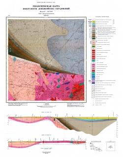 M-35-IV (Рубель). Геологическая карта СССР. Серия Центральноукраинская. Карта поверхности домезозойских образований