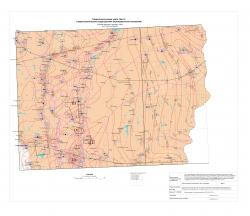 N-37-XXX; N-38-XXV (бассейн верхнего течения р.Цна). Гидрогеологическая карта. Лист 3 (гидрогеологические подразделения верхнедевонских отложений)