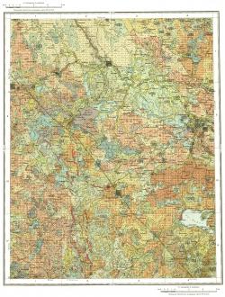 O-36-XVI. Государственная геологическая карта СССР. Карта четвертичных отложений и полезных ископаемых. Серия Тихвинско-Онежская