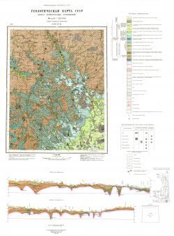 O-37-XVII. Геологическая карта СССР. Карта четвертичных отложений. Серия Тихвинско-Онежская