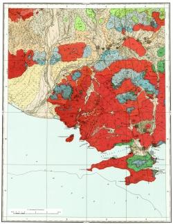 O-56-I. Геологическая карта СССР. Карта полезных ископаемых. Магаданская серия