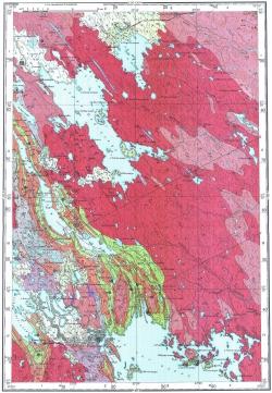 P-36-IV. Геологическая карта СССР. Карта полезных ископаемых. Карельская серия