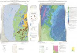 P-41 (Ивдель). Карта прогноза на нефть и газ; Геологическая карта погребенной поверхности предверхнетриасового несогласия (вид снизу). Уральская серия. Третье поколение.