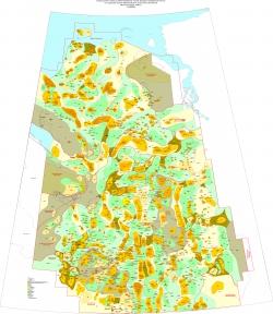 Структурная схема районирования чехла Западно-Сибирской плиты по подошве Юрско-Кайнозойского плитного комплекса