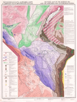 Тектоническая карта Баренцева моря и Северной части Европейской России